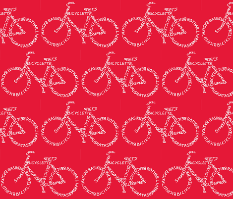 Bicycle Calligram White on Red fabric by blue_jacaranda on Spoonflower - custom fabric