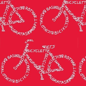 Bicycle Calligram White on Red