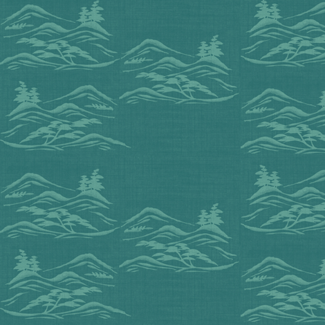 Asian inkscape -  teal and aquamarine blue