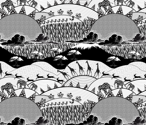 Africa Black&White fabric by vannina on Spoonflower - custom fabric