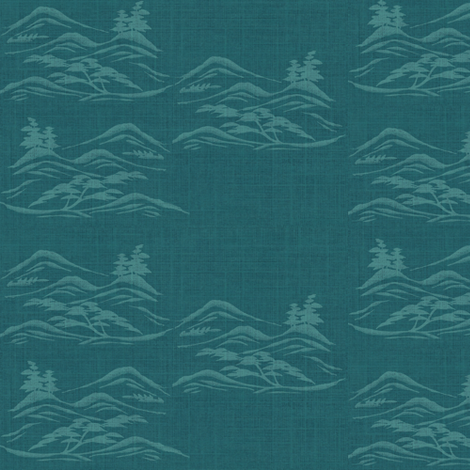 Asian inkscape -  teal and aquamarine blue-ed fabric by materialsgirl on Spoonflower - custom fabric