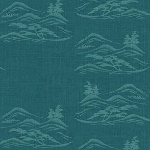 Asian inkscape -  teal and aquamarine blue-ed