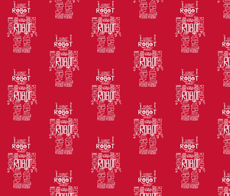 Robot Calligram White on Red fabric by blue_jacaranda on Spoonflower - custom fabric