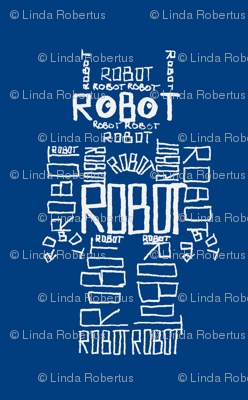 Robot Calligram White on Blue