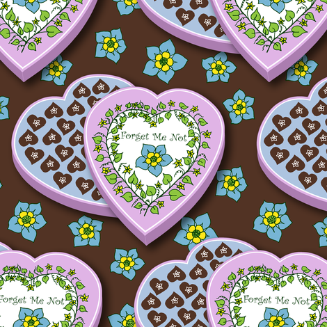 Chocolate Makes the Heart Grow Fonder fabric by rhondadesigns on Spoonflower - custom fabric