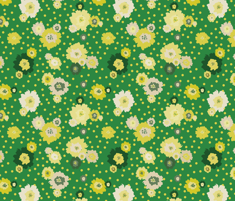 Mustard Flowers Green fabric by donnamarie on Spoonflower - custom fabric