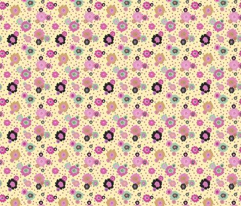 Mustard Flowers Pink fabric by donnamarie on Spoonflower - custom fabric
