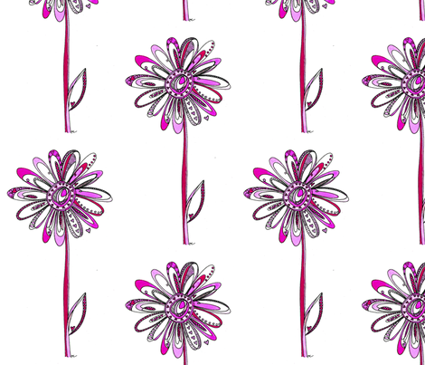 Pink Love Flowers fabric by kathryncole on Spoonflower - custom fabric