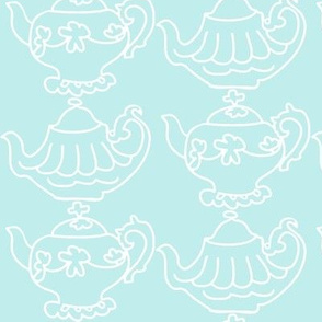 Teapots Flip (Lt. Aqua &amp; white)
