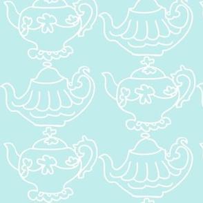 Teapots Flip (Lt. Aqua & white)