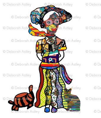 The Lady of Colors  and two of her pets in a half brick repeat