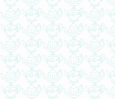 Teapots (lt Aqua & white) fabric by pattyryboltdesigns on Spoonflower - custom fabric