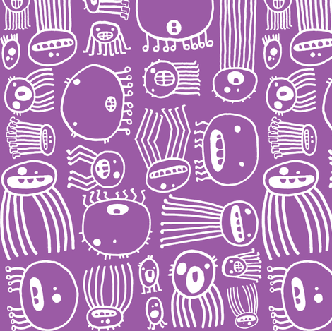 Halloween Creepy-Crawlie Spiders (grape & white) fabric by pattyryboltdesigns on Spoonflower - custom fabric
