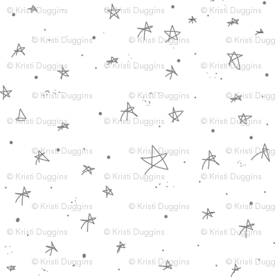 Stars and Galaxies Little Grey Stars (gray and white)