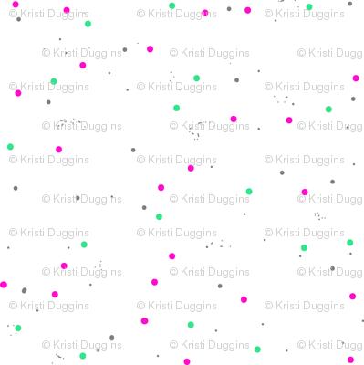 Stars and Galaxies, Coordinating Polka Dots, Spots, Grey, Red, Pink, Green