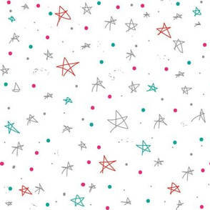 Stars and Galaxies, Stars and Dots, Grey Red Green Pink