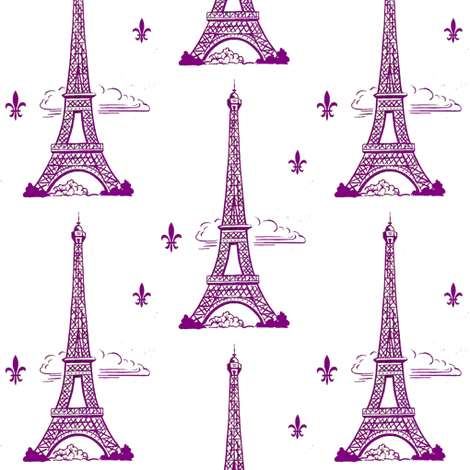 Eiffel Tower purple by Paris Bebe fabric by parisbebe_com on Spoonflower - custom fabric