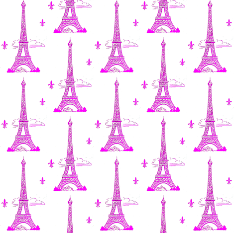 Eiffel Tower Hot Pink fabric by parisbebe on Spoonflower - custom fabric