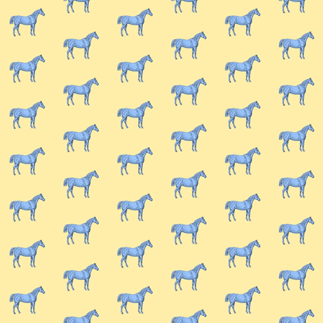 Little Blue Horse on yellow background fabric by ragan on Spoonflower - custom fabric