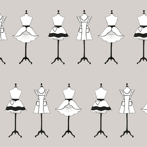 Vintage Aprons in warm gray fabric by carrie_narducci on Spoonflower - custom fabric