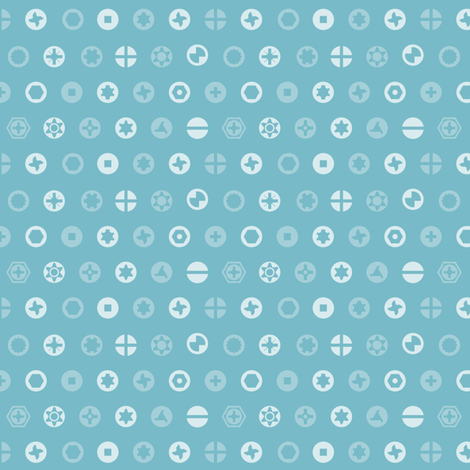 Screw heads, blue fabric by linkolisa on Spoonflower - custom fabric