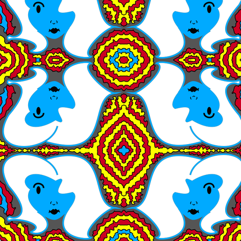 Retro Face - Superman Colors - Red, Yellow, Blue fabric by telden on Spoonflower - custom fabric