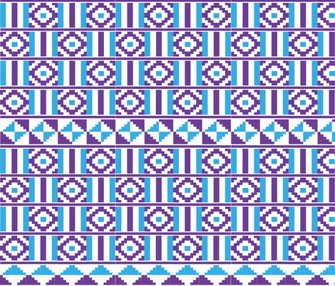 Kente inspired africa in blue and purple on white fabric by little_fish on Spoonflower - custom fabric