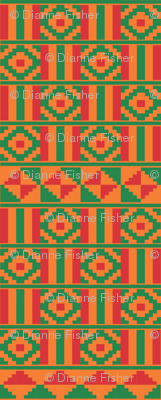 Kente inspired africa in red and green on orange