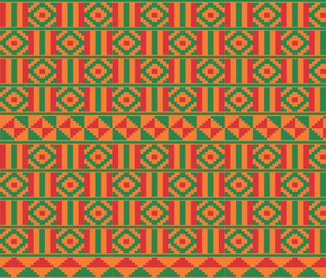 Kente inspired africa in red and green on orange fabric by little_fish on Spoonflower - custom fabric