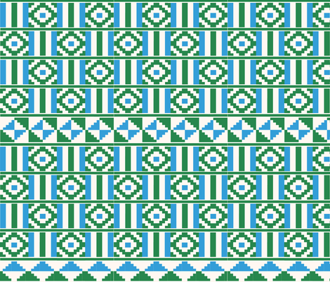 Kente inspired africa in green, blue and cream fabric by little_fish on Spoonflower - custom fabric