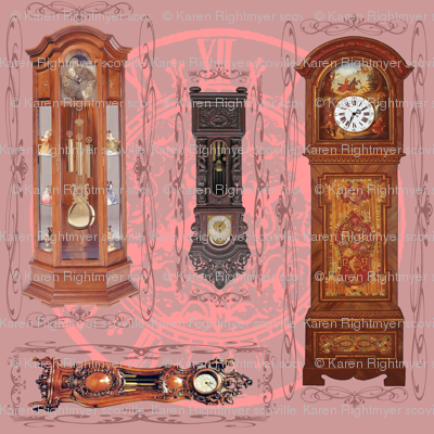 grandfather clocks big - mauve