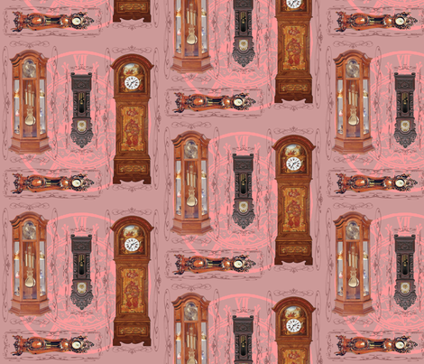 grandfather clocks big - mauve fabric by krs_expressions on Spoonflower - custom fabric