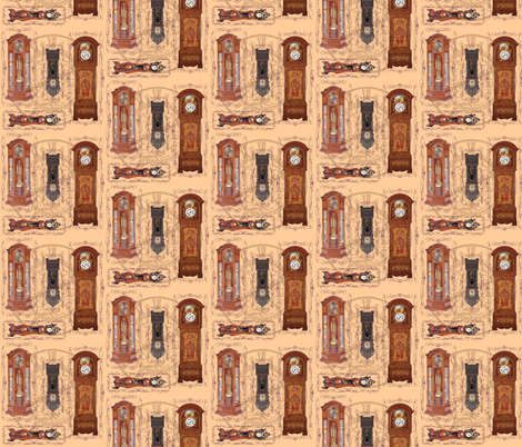 grandfather clocks small - light fabric by krs_expressions on Spoonflower - custom fabric