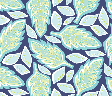 Big Leaves blue fabric by jillbyers on Spoonflower - custom fabric