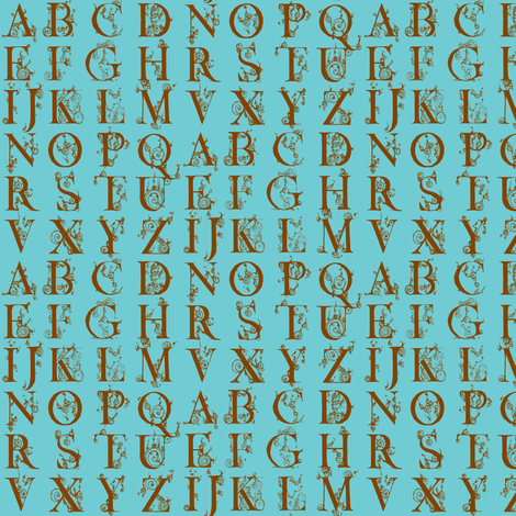 alphabet-brown on blue fabric by hemligdolls on Spoonflower - custom fabric