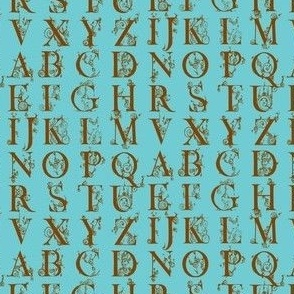 alphabet-brown on blue