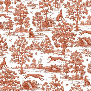 Red Greyhound Toile fabric, wallpaper, and gift wrap