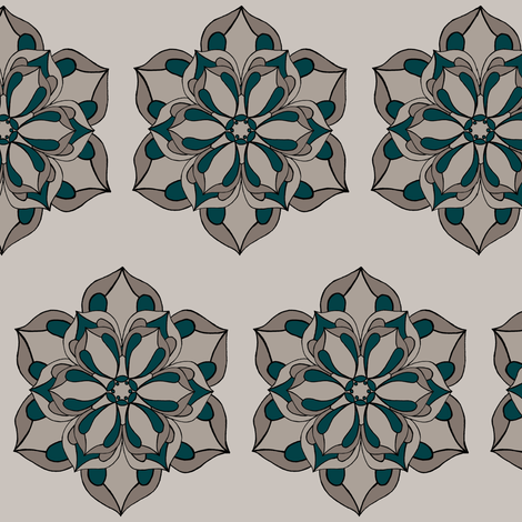 Six Petal Floral in warm grays & peacock fabric by carrie_narducci on Spoonflower - custom fabric