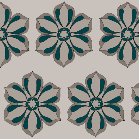 Six Petal Floral in warm grays & peacock fabric by cnarducci on Spoonflower - custom fabric