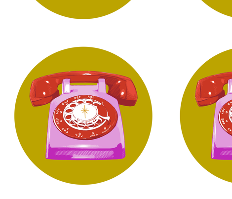 rotary phone decal fabric by melodymiller on Spoonflower - custom fabric