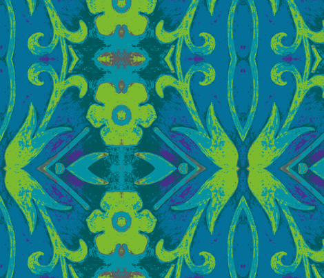 blue/green tapestry fabric by luckyb on Spoonflower - custom fabric