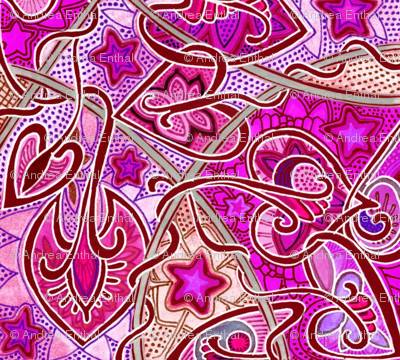 The Gypsy Wore Magenta and Stars (an exotic twisting abstract)