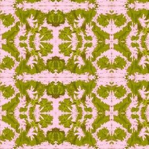 Sage greens on pink ice