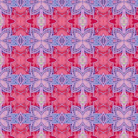 Puzzle Me a Delicate Lavender Butterfly (on red) fabric by edsel2084 on Spoonflower - custom fabric