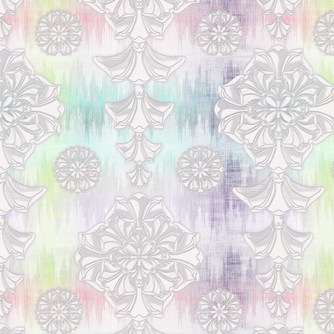 glorius_damask_rainbow_ikat fabric by glimmericks on Spoonflower - custom fabric