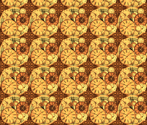 clocks brown fabric by krs_expressions on Spoonflower - custom fabric