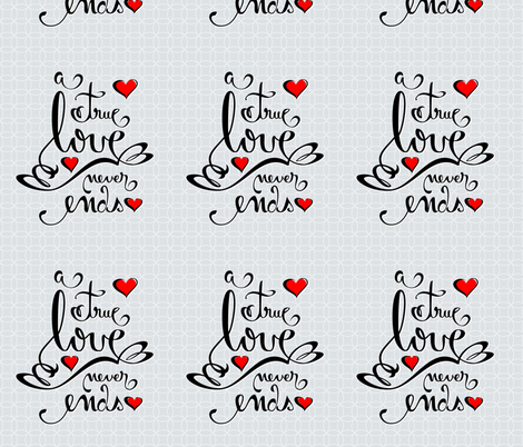 Valentine Love Calligraphy and Hearts fabric by ruxique on Spoonflower - custom fabric