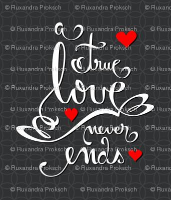 Valentine Love Calligraphy and Hearts on Dark