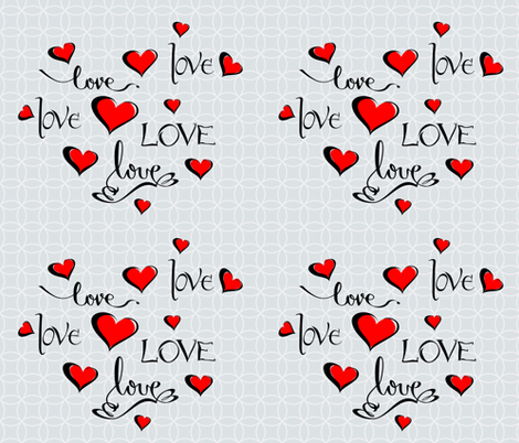 Valentine Love Calligraphy and Red Hearts fabric by ruxique on Spoonflower - custom fabric