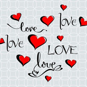 Valentine Love Calligraphy and Red Hearts